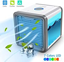 Air Cooler Portable Mini Personal Space Air Conditioner, humidifier & purifier with 7 Colors LED Lights for Room, Office,Outdoor