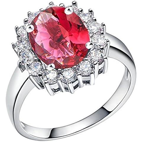 Tailloday 14 mm * 16 mm de plata de Ley de 925 de la joyería de la gran diamante simulado Granate color rosa rojo piedra Amatista anillo joyas para mujeres anillos de la vendimia