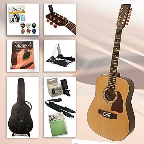 Einsteiger Westerngitarre Set 12-string mit Zubehör und hervorragendes Gitarrenbuch incl. CD (Farbe Natur, (Yamaha Akustik-gitarren Saiten)