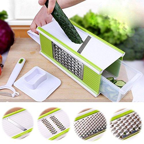 Kitchen Aid Gemüseschneider Kartoffelschneider 5 in 1 Handgerät Mandoline Gemüseschneider aus Edelstahl und Kunststoff Spülmaschinengeeignet für Gemüse und Obst für Reiben Hobeln und Schneiden