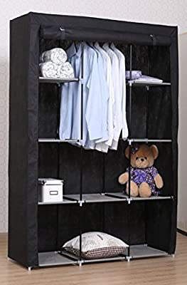 Vivo © Black Jumbo Canvas Wardrobe Clothes Rail Storage Cupboard Sturdy Student Cheap produced by Vivo - uk fast delivery
