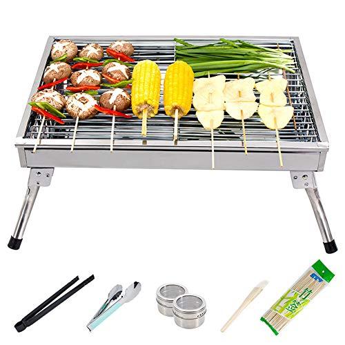 Zxcv grill barbecue carbone griglia barbecue per 3-5 persone griglia pratica portatile e pieghevole campeggio mini bbq,acciaio inox per barbecue, feste, picnic