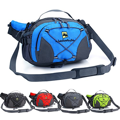 51je6RpAY8L. SS500  - AdventureAustria Large Bumbag with Bottle Holder Water Resistant Sports Waist Pack - Suitable for Hiking Walking Camping Travelling Etc. Comfortable Lumbar Pack Support. Adjustable & Reflective.