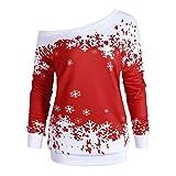 Soupliebe Plus Size Damen Half O Neck T Shirt Weihnachten Elch Print Blusen Tops Kapuzen Sweatjacke Kapuzenpullover Hoodie Pullover Sweatshirt