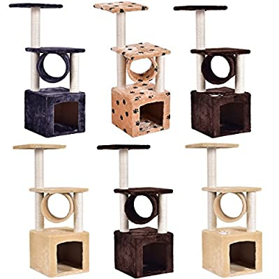 Costway Cat Kitten Tree Scratching Post Toy Activity Centre Pet Play Climbing Area Bed