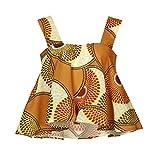 JUTOO Frauen African Print Tops trägerloses Bluse T-Shirt(Kaffee,EU:44/CN:2XL)