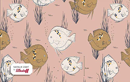 Lillestoff Jersey Aquarium Water Altrosa rosa *** 50 cm x 150 cm *** -