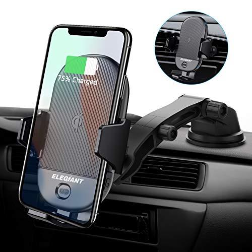 ELEGIANT Handyhalterung Auto Wireless Charger KFZ Handyhalter Infrarot Sensor Handy Halterung Induktions Ladegerät 15W MAX mit Lüftungs- & Saugnapfshalterung für Galaxy iPhone alle Qi Fähige Geräte