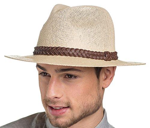 Homme Fedora Chapeau de Paille Style tendance avec bracelet en cuir tressé Summer Sun Chapeau Beige - Natural-Brown Leather Band