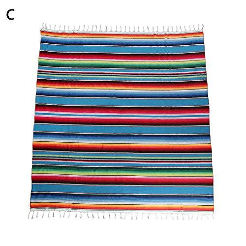 Mexikanischen Stil Quaste Tischdecke 59 x 84 Zoll Regenbogen Muster Baumwolle Farbe Streifen Schal Party Hochzeitsdekoration Tischdecke mexikanischen Themen Party Dekorationen Karneval Decke