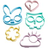 VonShef Silicone Egg Ring Mould Set of 5 includes Rabbit, Owl, Sun, Flower & Heart Designs