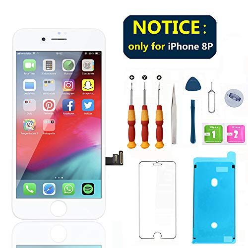 Swgrdin 3D Touchscreen Montage für iPhone 8 Plus Display Ersatz 5,5 Zoll LCD Display Rahmen für iPhone 8 Plus Digitizer Ersatz Werkzeug Kits mit Displayschutzfolie, A1864, A1897, A1898, 5.5