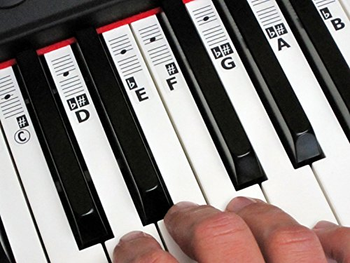 KEYNOTES 'B' Piano Keyboard Klavier Musik Tasten Aufkleber Sticker zum Noten Lernen mit Online Lernhilfen - 52 Etiketten (CDEFGAB)