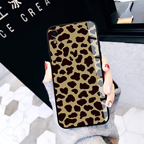 GUYISJK Mobile Phone Case Apple XS Max Xr Leopard Luxus 8 Weibliche XS Glas X Tide Marke Plus 8 Männlich 7 P Creative 6 Splus Persönlichkeit 6 S Net Rot Abschnitt 7 Schutzhülle, Ip-Xr-Volle Leopard