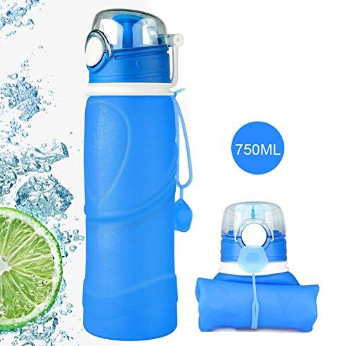 BPA-freie faltbare Trinkflasche, HiKeep medizinisches Silikon 750ML Wasserflasche, tragbar, Auslaufsichere und FDA Geprüft für Outdoor, Reisen, Radfahren (Blau)