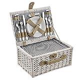 [casa.pro]® Picknickkorb für 4 Personen - Picknick-Set mit Kühltasche inkl. Geschirr, Besteck, Korkenzieher und Gläser (weiß)