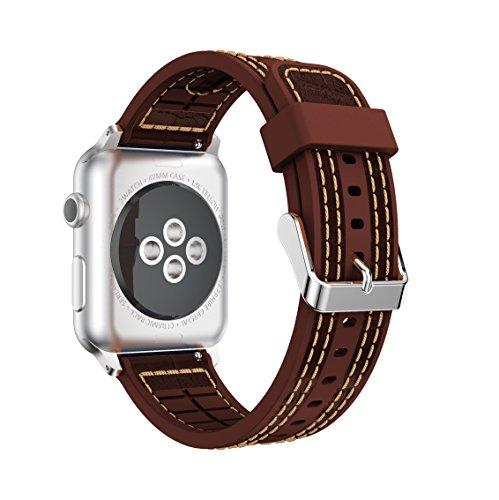Braun 3 Series 360 (Für Apple iWatch Band, yustat Weiche Silikon echtem Lederband Sport Handgelenk Band Ersatz für Apple Watch Serie 12und 3, coffee)