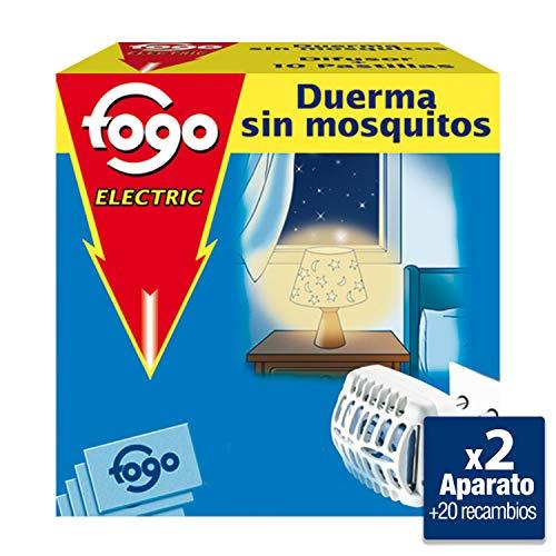 Fogo Anti-Mosquitos Insecticida Insectos Voladores Aparato Eléctrico + Pastillas, Pack de 2 aparatos + 20 pastillas