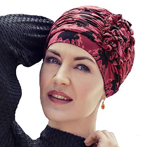 Christine Headwear Turban chimiothérapie Lotus en Bambou imprimé Floral  Rouge et Noir d6ac850b469