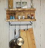 dekorie67 Küchenborte Gewürzregal Hängeregal Regal Shabby Vintage Holz Braun geflammt
