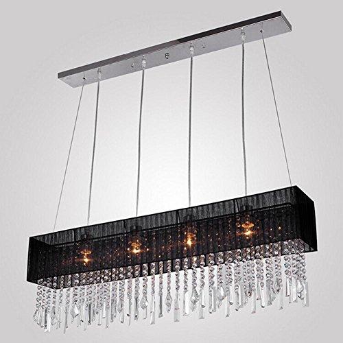 BJVB Moderno lampadario di cristallo da letto Soggiorno di cristallo pendente di cristallo rettangolare Luce (Acciaio Per Scale Ferroviaria)