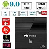 PHANTIO A95X F2 Android 9.0 4K Smart TV Box : 4GB DDR3 32GB ROM Dual Band WiFi USB 3.0 HDMI 2.1 BT 4.2 G31 GPU Voice Remote - Plays Jio TV, Airtel TV, Netflix, Hotstar and More