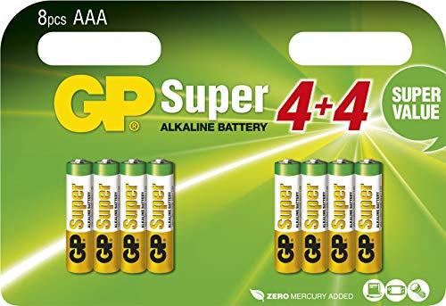 GP Batterien AAA (Micro, LR03) 1.5V, 8 Stück Blisterpack, Super Alkaline Longlife Technologie