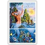 Meerjungfrau Des Antiken Hawai'i - Ursprüngliche Farbe Malerei von Warren Rapozo - hawaiianischer Kunstdruck - 31cm x 46cm