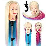 Neverland Beauty 66cm Trainingsköpfe für Friseure Übungskopf Friseurkopf Friseursalon Puppenkopf Schminkkopf Friseur Mannequin kopf 100% Synthetisches Haar Mit Halter