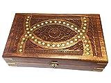 Regalo de la acción de gracias para sus seres queridos Caja de madera tallada oval de la joyería del embutido, caja de almacenaje, caja de la vendimia, 10x6inch,