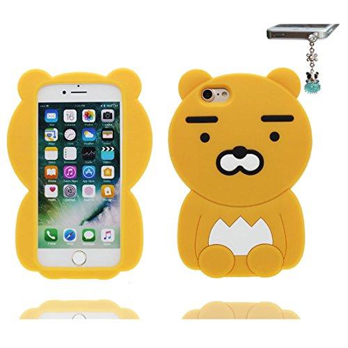 iPhone 7 Custodia, morbida guarnizione TPU in gomma antigraffio protettiva Case copertura per iPhone 7 4.7 Cover + tappi antipolvere / Cartoon Progettato 3D giallo orso bear giallo