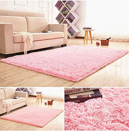 LIYINGKEJI Super weiche Moderne Shag Area Teppiche, 80X120 cm, Schlafzimmer Wohnzimmer Wohnzimmer rutschfeste Boden Teppich Teppich Decke für Kinder Spielen Haus dekorieren (Rosa) -