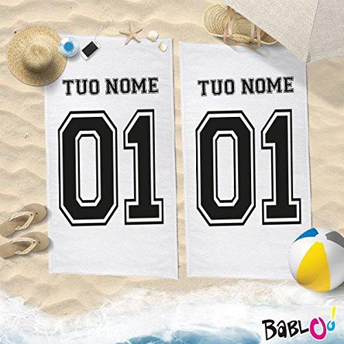 Coppia di teli mare love you and me personalizzati con nomi e numeri -150x200-