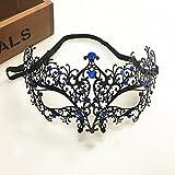chenyu Maskenmaske Venezianische Maske Halloween Maske funkelnd Diamant Laser Cut Metall Hohl Maske für Maskenade Party Ball Ball Ball Mardi Gras Hochzeit Dekoration Blue Diamond