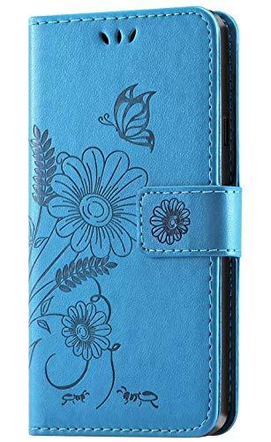 kazineer LG G7 ThinQ Hülle, Leder Tasche Hülle LG G7 ThinQ Schutzhülle Flip Case [3 Kartenfach] [Standfunktion] Handyhülle für LG G7 ThinQ Smartphone (Türkis-blau)
