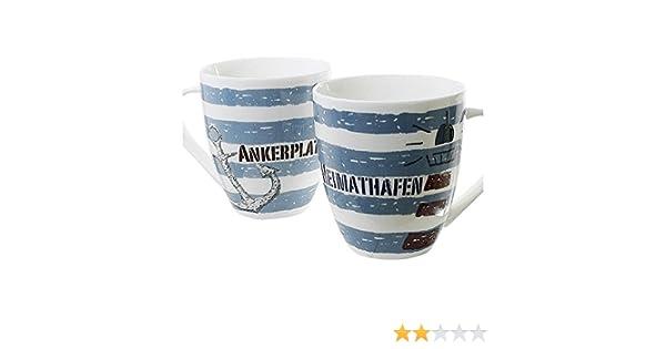 """Maritimer Becher /""""Ankerplatz/"""" Anker gestreift Tasse Kaffee Becher Andenken"""