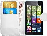 G-Shield Hülle für Microsoft Lumia 535 Klapphülle mit Kartenfach - Weiß