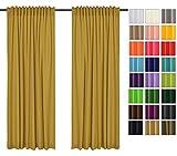 Sonnenschutz und Sichtschutz 2er Pack Vorhänge mit Tunnelband (Senf 8, 135x215 cm - BxH) Dekorative Blickdicht 2 Stücke Gardinen, Vorhang Schal für Schlafzimmer, Kinderzimmer, Wohnzimmer 40 FARBEN!!