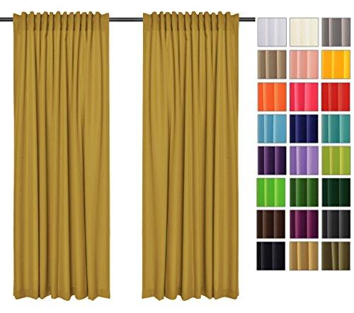 Rollmayer 2er Pack Vorhänge mit Tunnelband Kollektion Vivid (Senf 8, 135x150 cm - BxH) Blickdicht Uni einfarbig Gardinen Schal für Schlafzimmer Kinderzimmer Wohnzimmer 2 Stück - 36 Vorhänge Wohnzimmer