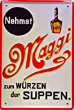 Retro Wandschild Designer Schild Nehmet Maggi zum Würzen der Speisen Deko 20x30cm Nostalgie Metal Sign XSONS44WA
