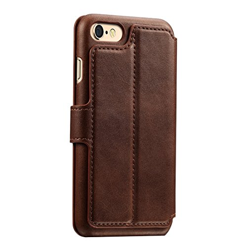Phone case & Hülle Für iPhone 6 Plus / 6s Plus, Rindsleder Textur Horizontale Flip Leder Tasche mit Halter & Crad Slots & Wallet ( Color : Dark blue ) Coffee
