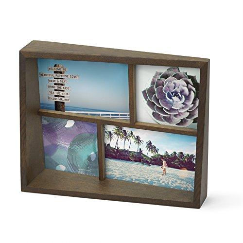 UMBRA Edge Multi Frame. Cadre photo multivues Edge, en bois, pour 4 photos dont 2 de 10x15cm et 2 de 10x10cm. Coloris bois finition noyer.