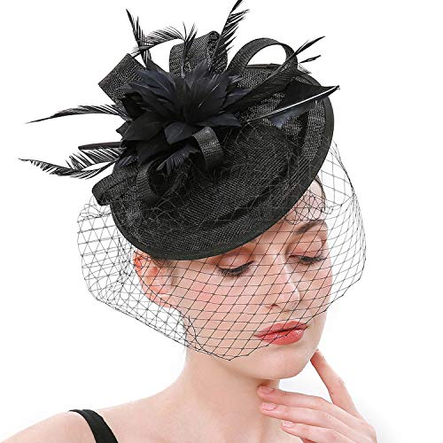 Fascinator Kostüm Hut - Coucoland Feder Fascinators Hut Damen Ahorn Blatt Mesh Hochzeit Braut Elegant Fascinator Haarreif Cocktail Tee Party Damen Fasching Kostüm Accessoires (Schwarz)