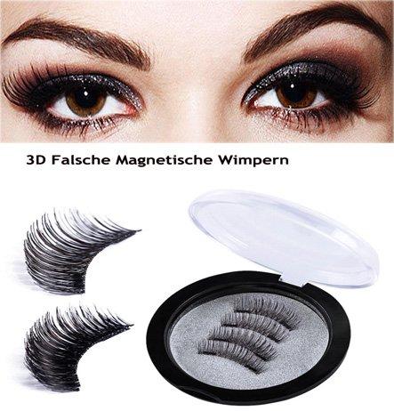 Magnetische Falsche Wimpern - Lange und Volle Augen Deckung, Drei Magnets, 1 Paare / 4 Stücke 3D Wiederverwendbare künstliche Wimpern Magnetic Eyelashes