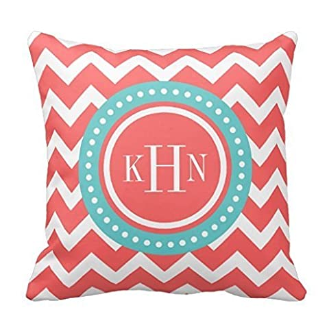 Personalized Chevron Accent Pillowcase for Sofa Decorative Pillow Cover Coral and Turquoise Pillow