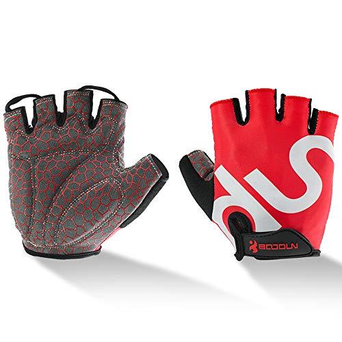 UPANBIKE Männer Frauen Radfahren Handschuhe mit stoßdämpfendem Gel Pad Atmungsaktive Halbe Finger Mountainbike Fahrrad Rennrad Handschuhe(XL, Rot)
