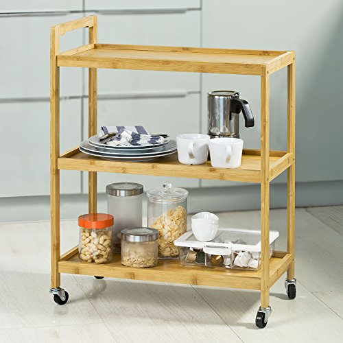 SoBuy FKW34-B-N, 3 Shelves Serving Trolley Tea Trolley on Wheels, Home Kitchen Trolley Cart, Perfect for Entertaining