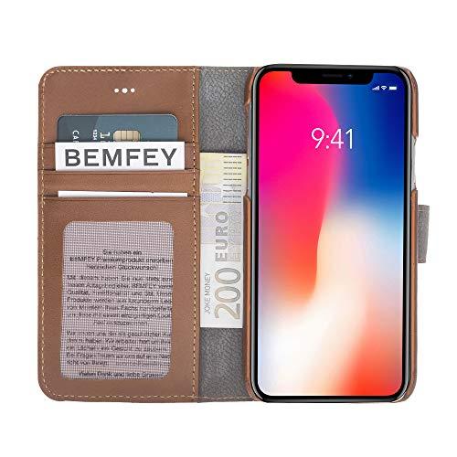 BEMFEY iPhone X | XS | XR I XS MAX Case Monaco in elegantem Premium Leder - Die 2 in 1 Lösung mit magnetischer und herausnehmbarer Handyhülle aus dem Lederetui Brown Burnished Tan (für iPhone X/XS)