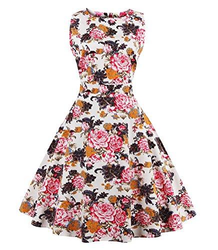 Ghope Robe à Audrey Hepburn Classique Vintage 50's 60's Style Partie Robe de Cocktail en Soirée colore 2