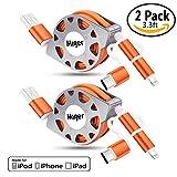 Miger 2Pack 3.3 Feet (1 Meter) Einziehbare Ladung und Sync 3 in 1 Kabel mit Lightning & Micro USB Anschlüsse für iPhone, iPad, iPod Touch / 5 Nano 7 auf iOS9, Samsung / HTC & More(Orange)